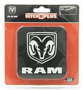 Dodge Ram All Black Logo Brushed Aluminum Brackets Hitch Plug