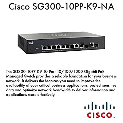 CISCO SG300-10PP-K9-NA / 10 Ports - Manageable - 8 x POE+ - 2 x RJ-45 - 2 x Expansion Slots - 10/100/1000Base-T - Desktop