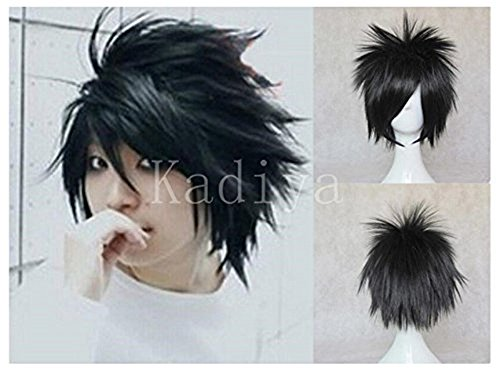 [Kadiya Cosplay Wig Death Note L.Lawliet Short Stylish Black Synthetic Hair] (L Costume Death Note)