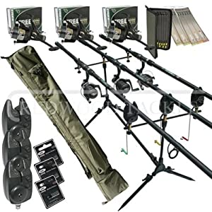 Full carp fishing set up complete 3 x rods reels alarms 3 for Amazon fishing rods and reels