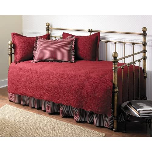 Stone Cottage Trellis Collection 5-Piece Daybed Set, Scarlet