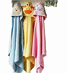 BRANDONN FASHIONS Hooded Shower Towels for Babies (Set of 3)