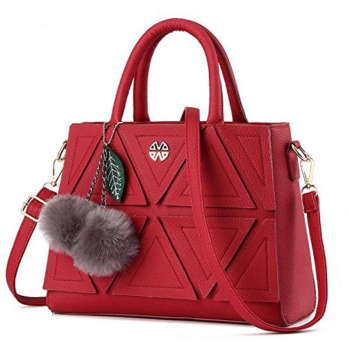 korean-sweet-stereotypes-solid-color-pu-leather-embossed-female-shoulder-messenger-tote-bag-wine-red