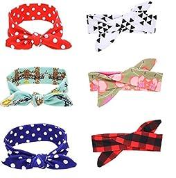 Mookiraer® 6pcs Baby Elastic Cloth Rabbit Ears Headdress Girl\'s Soft Turban Knot Hairband Headwear (ZY886)