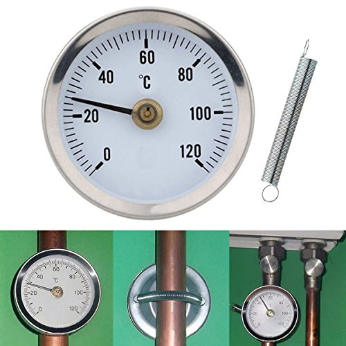 Saver Home Industrial Clip-on Pipe Spring Thermometer Temperature Gauge 63mm 0-120â