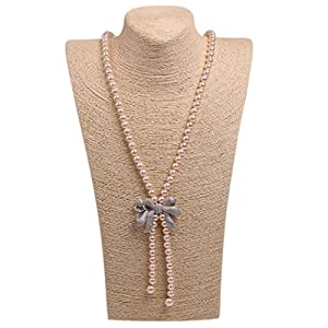 Wild Wind (TM) Princess Pendant Bow Pearl Strands Necklaces (Orange)