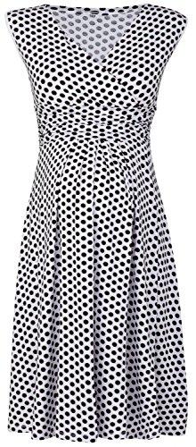 Happy Mama. Women's Maternity Empire Waist Stretch Sleeveless Dress Skater. 110p (White with Dots, UK 10)