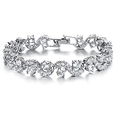 OPK Jewellry Platinum Plated Swarovski Elements Cubic Zirconia bracelet For women Wedding Jewely