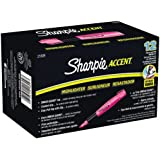 Sharpie Accent Grip Highlighters, Fluorescent Pink, Chisel Tip, Box of 12 (21809)