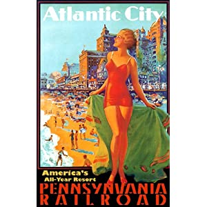 "13x19"" Inches Poster. ""Atlantic City, Pennsylvania Rail Road"". Decor with Unusual Images. Great Room Art Decoration."