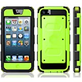 i-Blason Armorbox for Apple iPhone 5C Dual Layer Hybrid Full-body Protective Case with Front Cover and Built-in Screen Protector and Impact Resistant Bumpers (Green)
