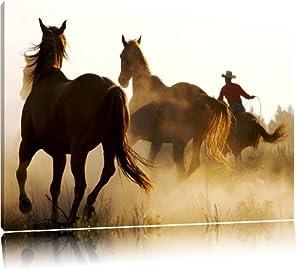 western pferde cowboy bild auf leinwand xxl riesige bilder fertig gerahmt mit keilrahmen. Black Bedroom Furniture Sets. Home Design Ideas