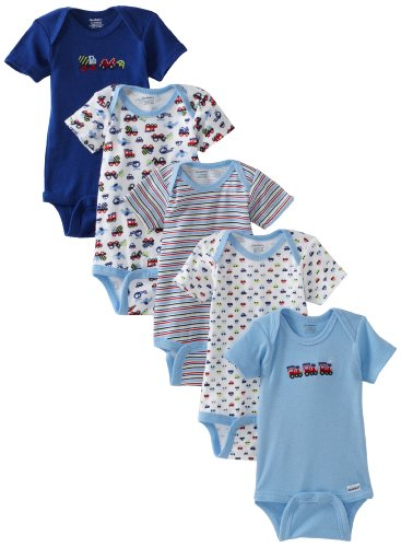 Gerber Baby-Boys Newborn 5 Pack Variety Onesie, Blue Assorted, 0-3 Months