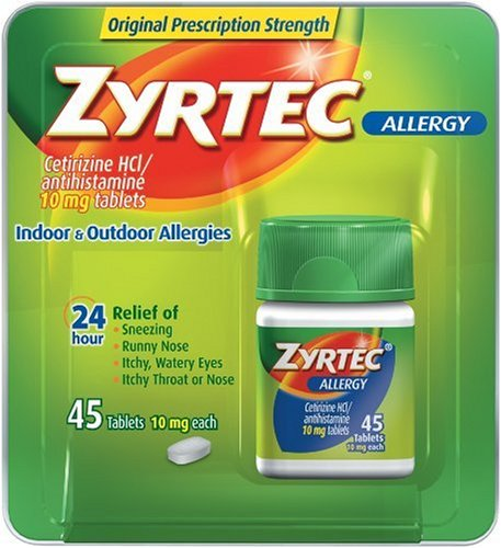 Zyrtec Allergy Relief (10 mg), 45-Count Tablets