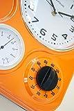 Visua Nia Retro Metal Kitchen Clock With Mechanical Timer And Temperature Gauge, Orange
