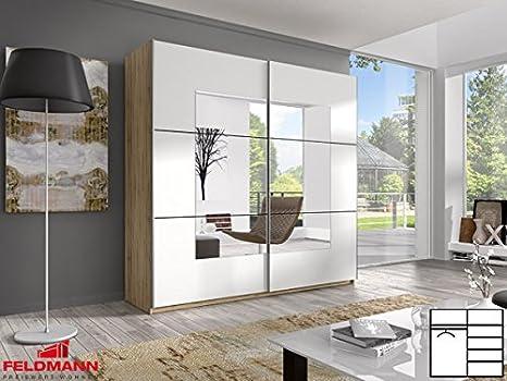 Schwebeturenschrank Kleiderschrank 54033 2-turig eiche hell / weiß mit Spiegel