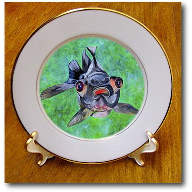 Cp_46714_1 Taiche - Acrylic Painting - Fish - Black Moor Goldfish - Black Moor Goldfish, Telescope Goldfish, Goldfish, Dragon Eye Goldfish - Plates - 8 Inch Porcelain Plate