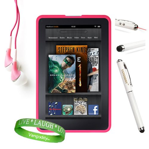 Amazon Kindle Fire Accessories Kit, Bundle Includes: Pink Dust Resistant Kindle Fire Skin Cover + Multifunctional Kindle Fire Stylus Pen (Accurate Stylus, Laser Pointer, & Led Light) + Compatible Noise Reduction Pink Kindle Fire Earbuds Earphones + Vangod