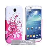"""Samsung Galaxy S4 Tasche Rosa / Wei� Silikon Gel Blumen Biene H�llevon """"Yousave Accessories�"""""""
