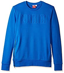 PUMA Men's Crew Sweat Long Sleeve Top, Strong Blue, L