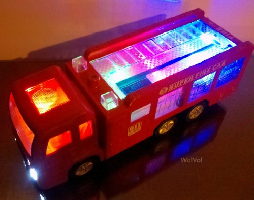 WolVol Electric Fire Truck Toy with Lights, Sirens and Sound (