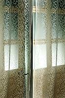 Ivory Venetian Scroll faux silk sheer curtain