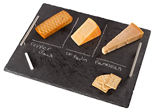Chef Essential Slate Cheese Board Set with Handles,17.7'' x 13.7