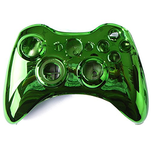HDE Xbox 360 Wireless Controller Shell Buttons Thumbsticks Replacement Case Custom Cover Kit - Chrome Green (Xbox 360 Replacement Console Case compare prices)