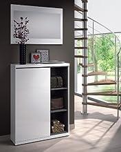 Comprar Habitdesign 0G6749BO - Recibidor zapatero con espejo, acabado blanco brillo y ceniza, medidas 79 x 108 x 25 cm mas espejo
