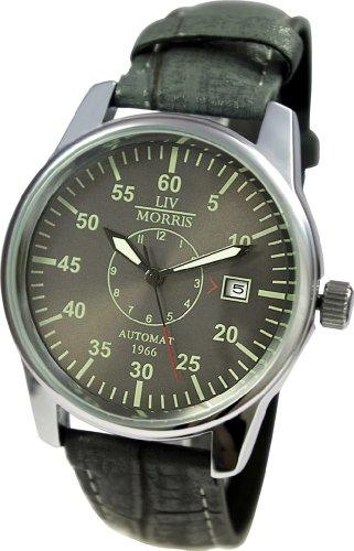 LIV MORRIS Automatik Herrenuhr 1966 La Rochelle, mechanische Armbanduhr, SeaGull Uhrwerk, automatischer Aufzug, Edelstahl-Glasboden, lumineszierende Zeiger und Indices, echtes Lederarmband, von LIV MORRIS