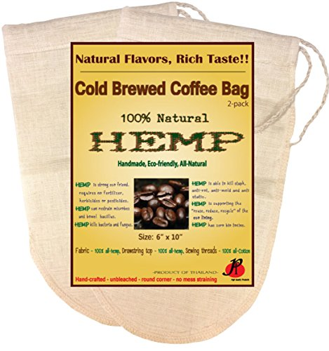 (2 Pack) Reusable Cold Brew Coffee Filter 6.5 x 10 inches – FULL TASTE – NO HARMFUL CHEMICAL IN YOUR COLD BREW COFFEE ANYMORE. – Pure Hemp Fabric – Best Choice Safety Health – Fine Mesh Strainer for Cold Brewed Iced Coffee – Food Grade – Food Strainer – Filter Bags – Fits with Ball Mason Jar Size 1-2 Litre