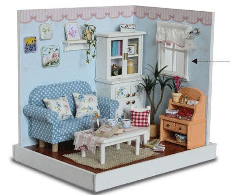 Big Dollhouse Miniature Diy Wood Frame Kit With Light Model Sweet Promise Gift Ldollhouse48-D75