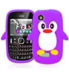 Magic Global Gadgets - New Purple Soft Cute Penguin Silicone Gel Rubber Case Cover Skin For Nokia Asha 200 / 201 With Screen Guard