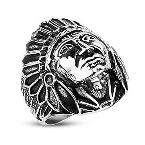 Stainless Steel Biker Ring with Wide Apache Indian Chief Cast Shield Ring - Crazy2Shop
