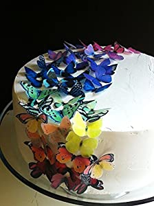 Edible Butterflies - Small Assorted Set Of 24 - Cake And Cupcake Toppers Decoration from Sugar Robot inc.
