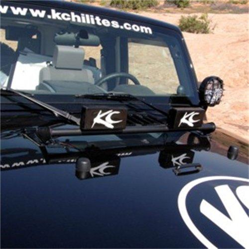 Kc Hilites #7409 Front Light Bar - 07-2011 Jeep Wrangler Jk Black Hood Mount 2 Tabs