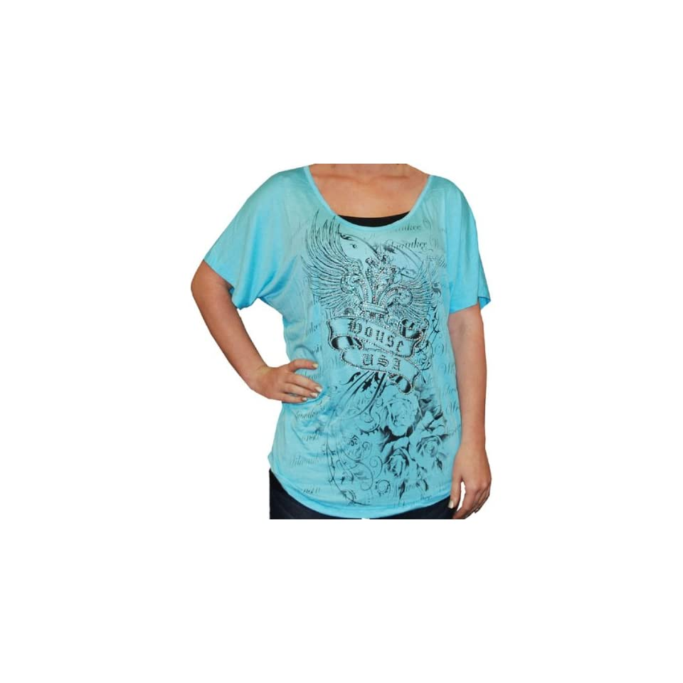 The House Milwaukee USA Women's Short Sleeve Winged Fleur de lis Scoop Neck T Shirt From The House, Milwaukee. Loose Fit. Custom Graphics Front and Back. Black, White, or Aqua. Made in USA. C7836 Clothing