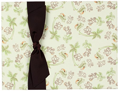 Tessera Baby Books Memory Ribbon, Monkeys with Brown Grosgrain/Cream - 1