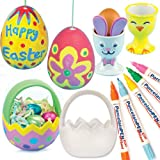 Easter Porcelain Painting Super Value Pack. Save 18% when bought in pack. Includes 5 Brilliant porcelain paint pens, 4 ceramic egg baskets, 4 ceramic hanging eggs and 4 porcelain egg cups.