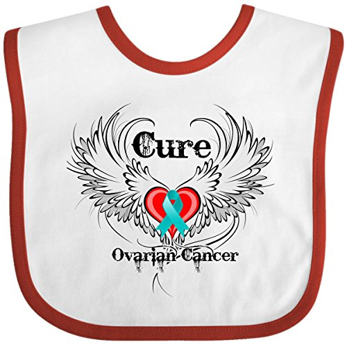 Inktastic Baby Boysâ€Tm Cure Ovarian Cancer Baby Bib By Hdd One Size White/Red front-660743