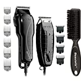 Andis Stylist Combo-Powerful High-speed adjustable clipper blade & T-Outliner T-blade trimmer with fine teeth for dry shaving, outlining and fading With a BeauWis Blade Brush Included (Black) (Color: Black w/ Blade Brush)