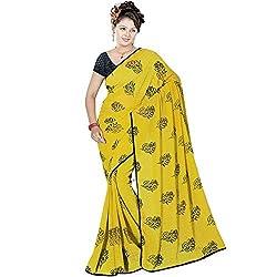 Pawan Tex saree for women's (saree72_yellow)