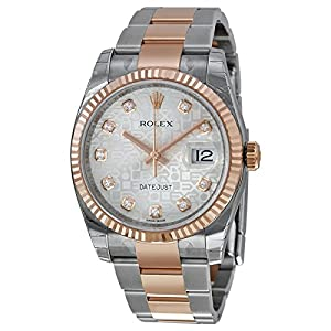 Rolex Datejust Silver Dial Stainless Steel 18kt Pink Gold Mens Watch 116231SJDO
