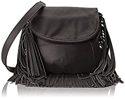 Cynthia Vincent Fringe Detail Cross Body Bag, Black, One Size