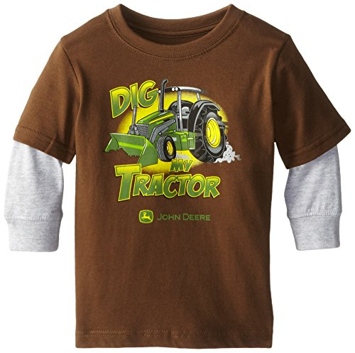 John Deere Little Boys' Dig My Tractor Layered Long Sleeve Tee, Brown, 2T front-1060660