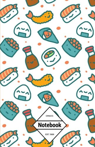 "GM&Co: Notebook Journal Dot-Grid, Lined, Graph, 120 pages 5.5""x8.5"": Cutie Kawaii Sushi Japanese"