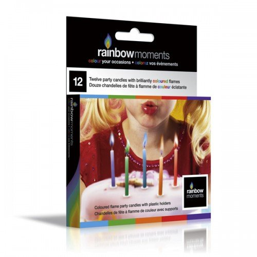 Rainbow Candles Non Toxic - Coloured Flame Birthday Candles Rainbow Moments - Party Accessory - Great Party Favors & Supplies - 1