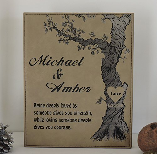 Anniversary Leather Gift With Personalized Names and Established Date