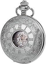 KS KSP030 - Reloj de Bolsillo Mecánico, Analógico, Caja Plateada