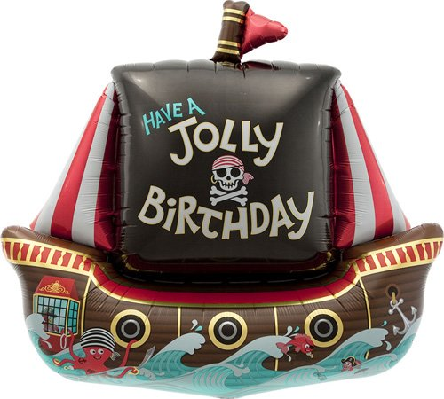 Jolly Pirate Ship Helium Foil Balloon - 36 inch